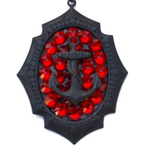 SCARLET FEVER RHINESTONE ANCHOR MINI NECKLACE NEW